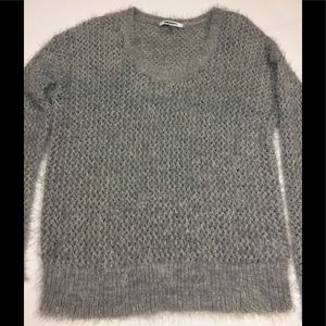 DKNYC Slouchy fuzzy gray sweater size small
